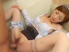 Exotic Japanese girl Misaki in Hottest Lingerie, Stockings/Pansuto JAV clip