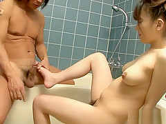 Best Japanese girl Asuka Ayanami in Incredible Foot Job, Blowjob JAV video