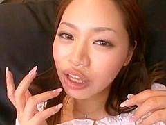 Horny Japanese whore Megumi Hasegawa in Incredible Couple, Cumshot JAV scene