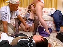 Incredible Japanese chick Mirei Yokoyama in Crazy Masturbation, Threesome JAV clip