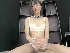 Amazing Japanese whore in Hottest Handjob, HD JAV clip