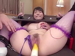 Exotic Japanese whore in Amazing Fishnet, Blowjob JAV video