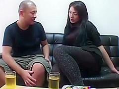 Cute Japanese girl farting for her man in leggings