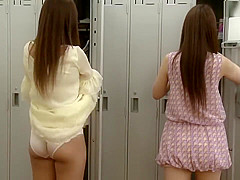 Japanese sexis changing clothes in changing rooms