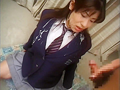In the last lesson Japanese high school girl students bukkake