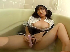Satomi Maeno In Cosplay As A Horny Maid Who Hides Her Dildo