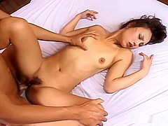 Slutty looking Japanese mistress makes her horny sub cum