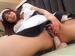 Big tits maid Riko Tachibana toys masturbation
