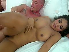Brunette Joy gets cum all over her body