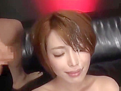 Beautiful Japanese office lady gets pissed in face and bukkaked