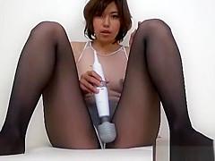Japanese pantyhose and leotard handjob