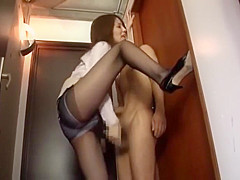 Tall japanese Girl Standing Handjob