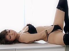 Hot babe Yuria in bikini fondling herself and masturbating