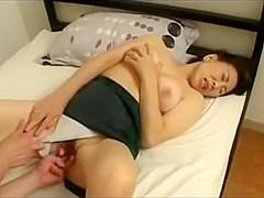 Japanese stepmom deeply insert her son's cock