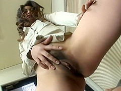 JP Office Lady Dom Sits on and Teases Slave