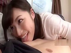 adorable asian girl teases guy