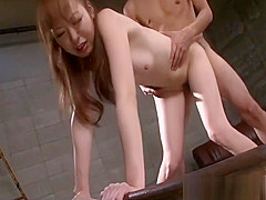 Misato Sakurai is in the dungeon with a guy who enjoys