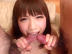 Yuri Sato gives head in sloppy modes on home camera