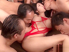 Creampied japanese model piledriven in group