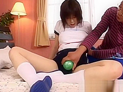 Kasumi Uehara plays with two cocks in her tight holes