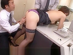 Aiko Hirose in fishnets gets cum in nooky from sucked joysticks