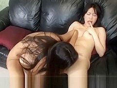 Aimi Shirase hot Asian lesbians enjoy licking and strap on action