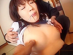 Subtitled spread Japanese schoolgirl defiled with candy