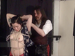 Devils japanese bondage and oriental kimono beauty restrained in asian bdsm
