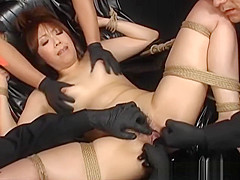 Bound Oriental woman given intense hands free orgasms with sex toys