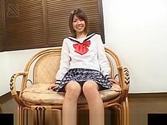 Ai Kazumi in school uniform sucks cock and gets banana in pussy