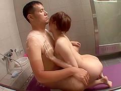 Busty Asian Babe Boob Job and Ride Hard Cock Partner on Bathroom Floor