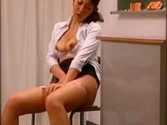Risa Kasumi Asian head mistress fondles pussy