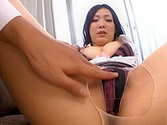 Asian office gal masturbates