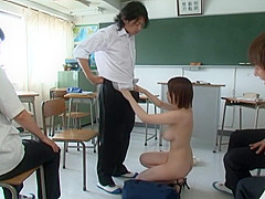 Japanese milf Saki Okuda naughty teacher strips naked in class