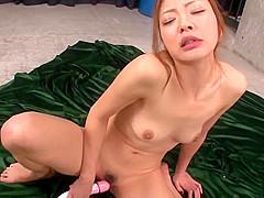 Mio Kuraki gets jizz on face after severe blowjob