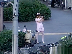 Naughty Asian girl is pissing in public part2