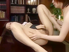 Office Lesbian Asians Fucking with Toys