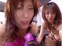 Sultry Sakura enjoy a delightful threesome