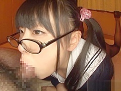 Airi Satou Asian teen in glasses gives pov blowjob