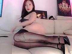 Stunning Korean in sexy black stockings