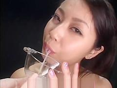 Asian bukkake cutie drooling sperm