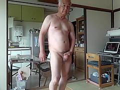 Japanese old man masturbation erect penis semen flows