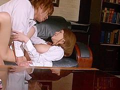 Haruka Sanada naughty Asian milf fucks boss in the office