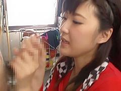 Alluring Asian queen Harukawa Sesera wild blowjob