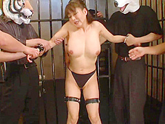 Restrained babe gets her pussy fingered