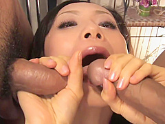 Exotic brunette can fit two huge dicks in her mouth