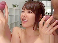 Nasty japanese has wanton needs for wet cock engulfing