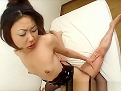 Asian babe fucked after sucking on cock