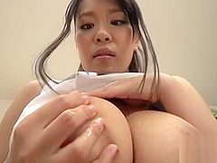 Busty asian sweetheart spreads her legs for lusty pussy shaving