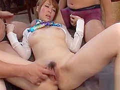 Cute japanese with sexy melons masturbates wildly with toys